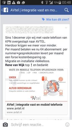Sinds 1 december zijn wji met vaste telefoon van KPN overgestapt naar AVTEL. Hierdoor krijgen we meer voor minder. Per maand betalen we nu €4 abonnement per nummer+gesprekskosten levert per maand een forse kostenbesparing op. Migratie en installatie vlekkeloos. Rene van Wijk top ! en bedankt.